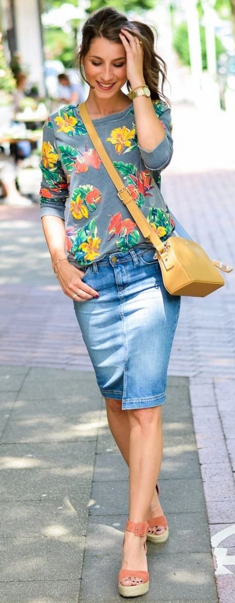 Floral top and denim skirt