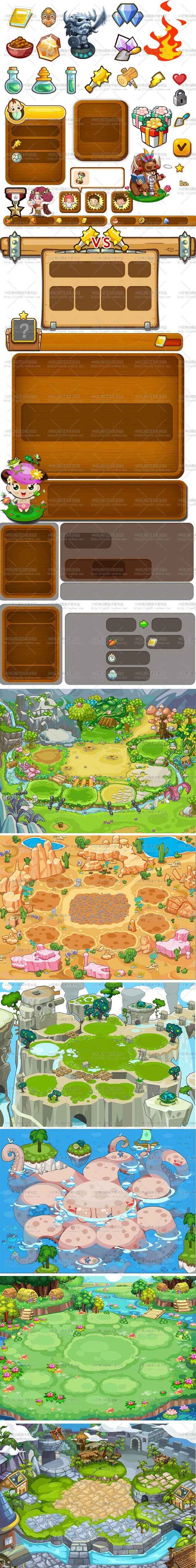 游戏美术资源/Q版卡通游戏UI素材/界面...