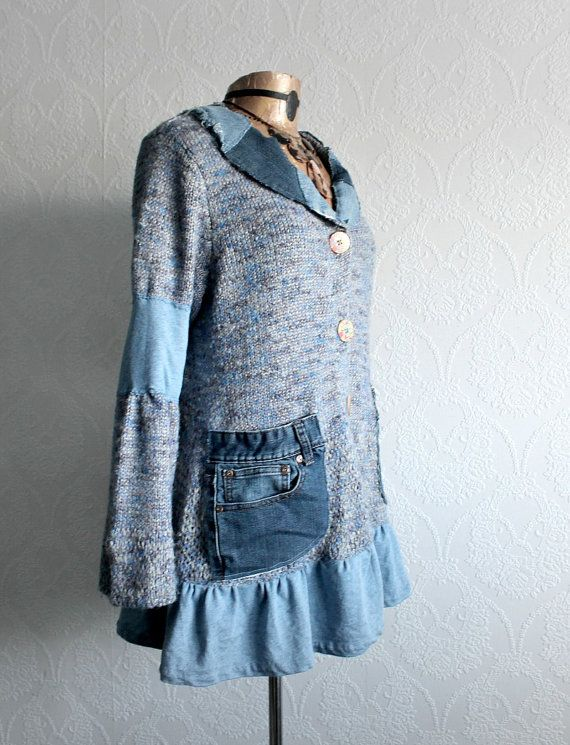 Denim Blue Upcycled Sweater Long Cardigan by BrokenGhostClothing