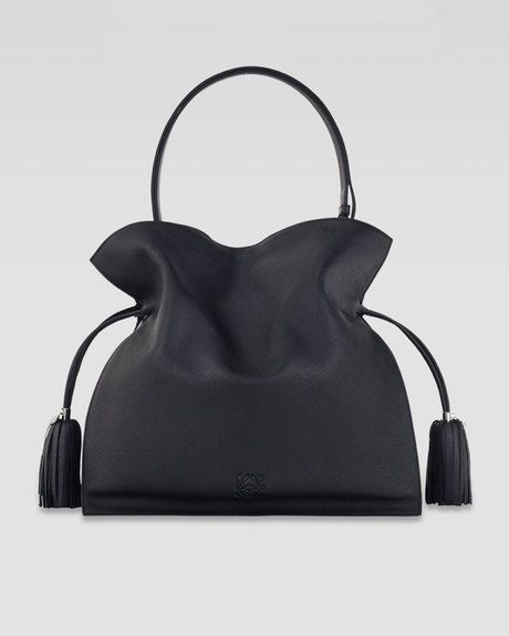 Loewe Black Flamenco 30 Drawstring Leather Bag Black