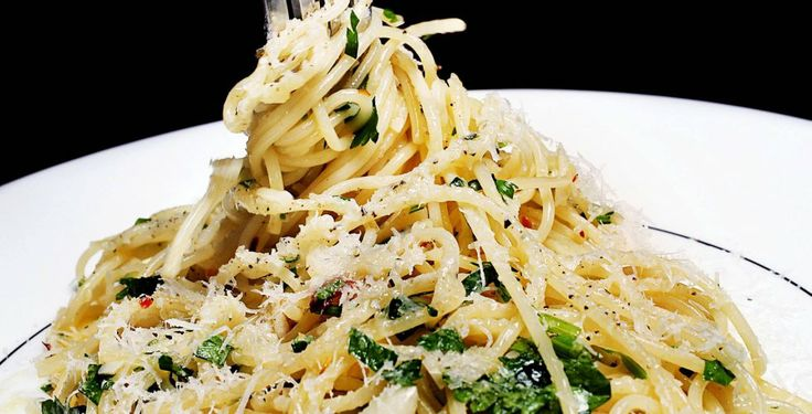Spagetti med hvitløk