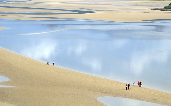 The stunning Portmeiron Beach in Wales, UK at low tide. The series 'The Prisoner' was televised in Portmeirion Village.