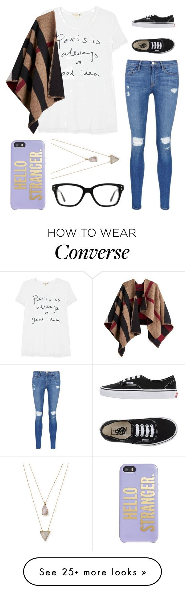 """""""Untitled #412"""" by tokyoghoul1 on Polyvore featuring Sundry, Burberry, Frame Denim, Kate Spade, Converse, Panacea and Vans"""