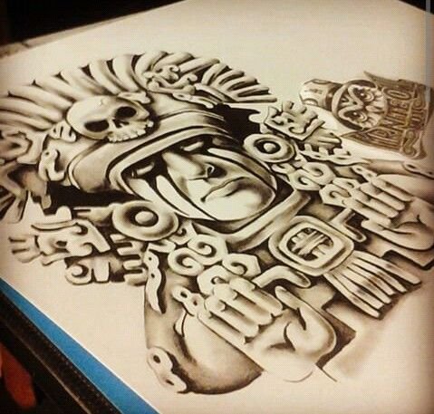 aztec chicano drawing tattoo tattoos designs drawings warrior arte mayan 3d culture azteca artwork tribal mexican mexico 3f sleeve 750x