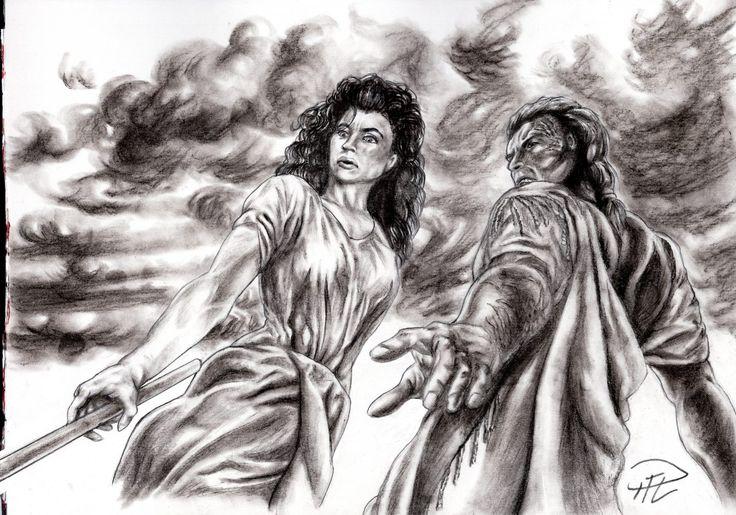 Storyboard sketch - Corinna & Yakane leaning over fallen Kati. See https://indomitus.blog/2017/04/07/projekt-storyboards-ett-annat-perspektiv-i-flera-hanseenden/