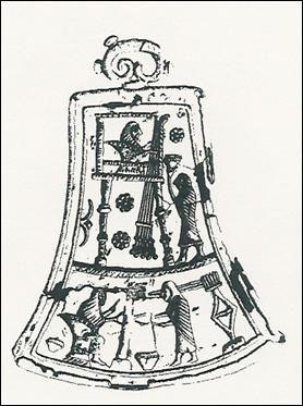 """Disegno riproducente la decorazione sul """"tintinnabulo """" con raffigurazione di tessitura e filatura della lana"""