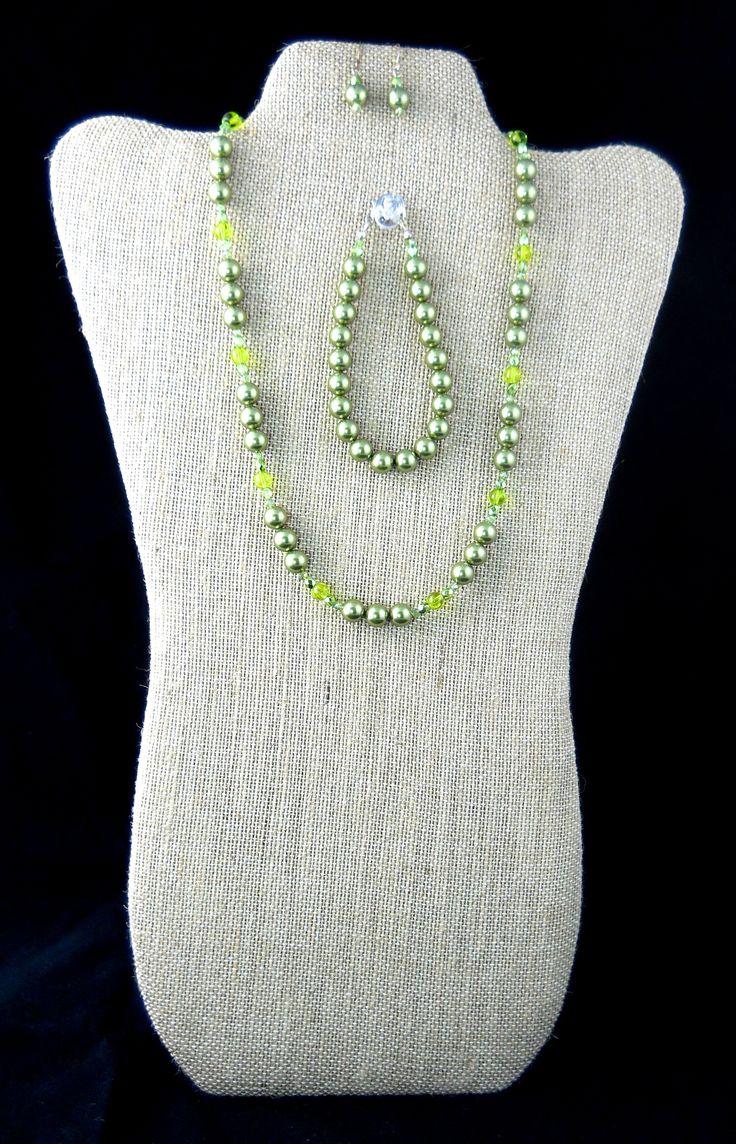 Green Swarovski Pearls & Czech Glass
