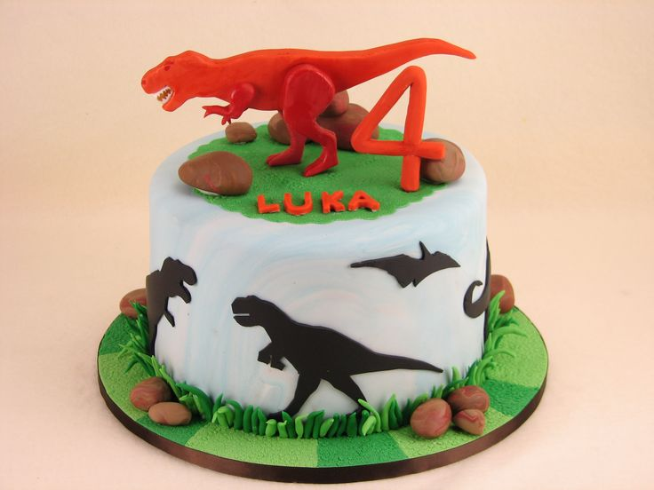 Dinosaur cake: Chocolate mud cake with milk chocolate ganache.