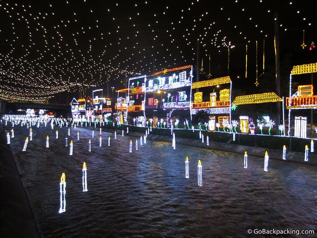 Decorations along and above the Medellin River