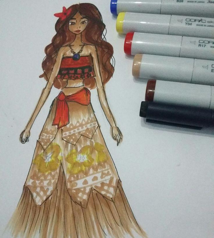 #moana #copic #fashion #illustration #designer