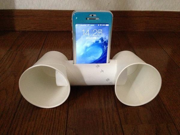 Twitter / Honki_Honki: トイレットペーパーの芯と紙コップでiPhoneのスピーカーが ...