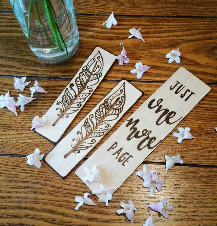 Find these bookmarks at www.MarkedByMary.etsy.com & on INSTAGRAM @:MarkedbyMary  • • • #booklover #booknerd #bookworm #books #bookmarks #bookmark #feather #pyrography #pyrographer #handlettered #calligraphy #woodbookmark