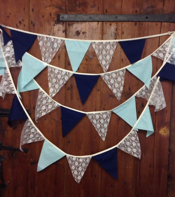 This really is a beautiful bunting banner it is flag to flag in style and I have chosen a delicate ivory lace complimented by a soft mint green tiny