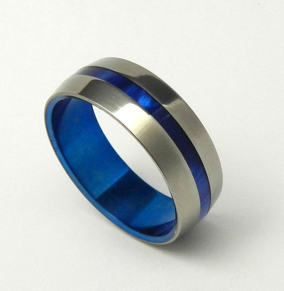 two stripes of this color of blue, with slightly darker metal. rounded or slightly beveled edges.