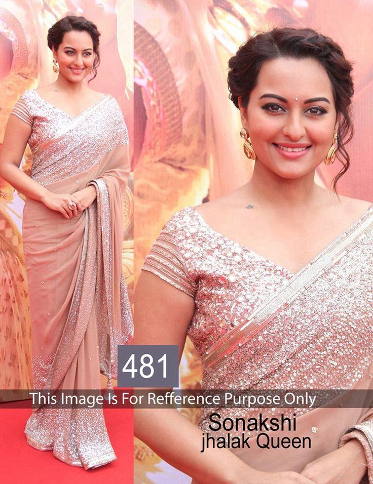 Sonakshi Sinha Georgette Sequins Work Cream Bollywood Designer Saree - 481BS