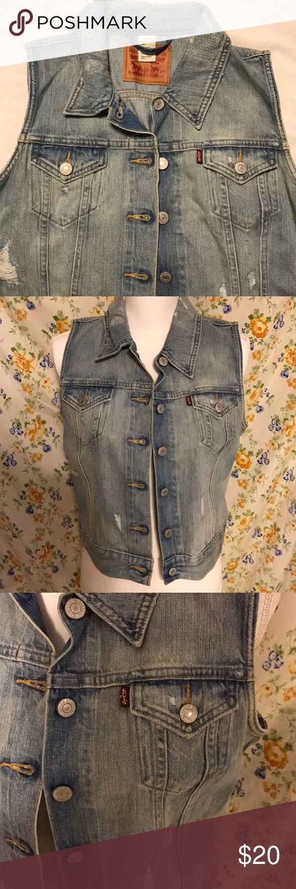 "LEVI'S denim distressed vest Levi's denim distressed vest **size medium  **structured, form fitted **great pre owned condition ; I'm 5""9 and it's a little too short for me since I prefer my jackets/vest more oversized ** super cute over dresses, graphic tees and turtlenecks  **very soft denim Levi's Jackets & Coats Vests"