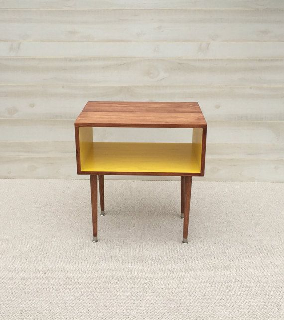 The Side Table...Mid Century Modern Side End Table Toffee And Sunshine (