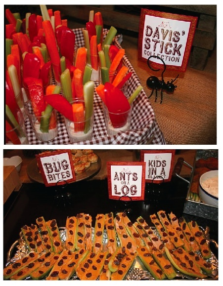 food : ants on a log, carrot/cucumber sticks, hot dogs, smores