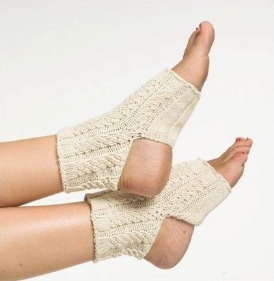 Носки для йоги, вязаные спицами, с узором жгут