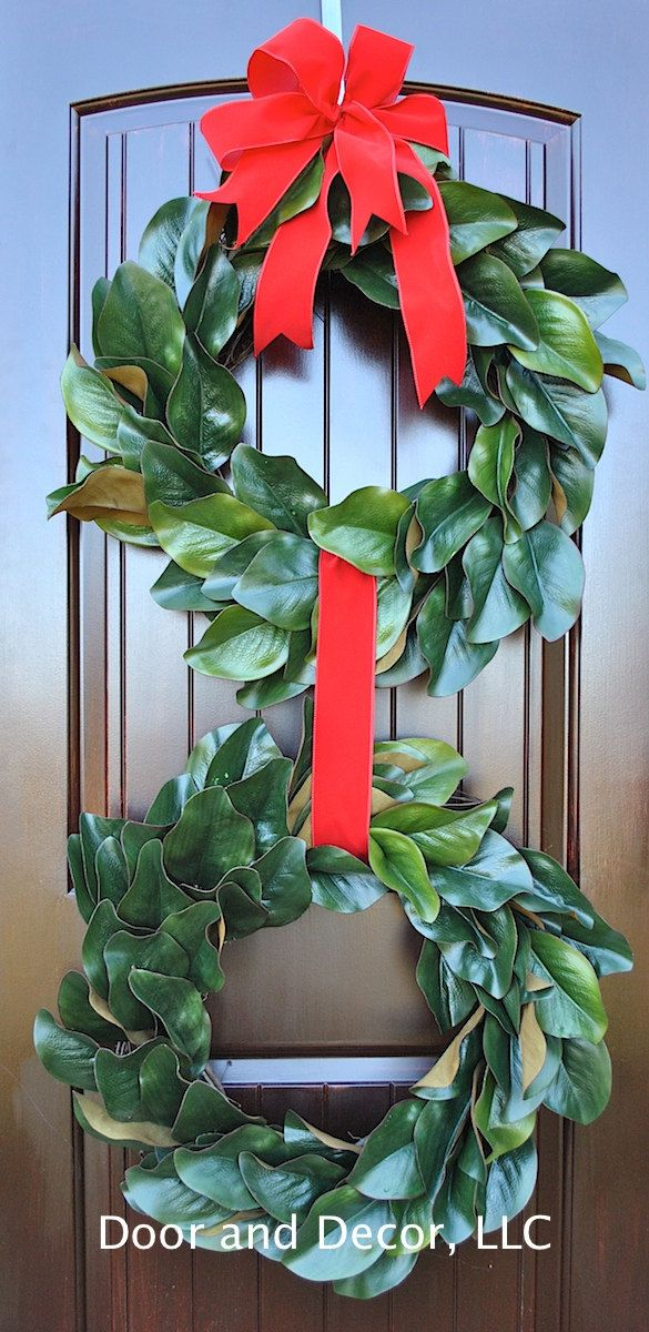 Magnolia wreaths~double magnolia wreaths~faux magnolia leaves~Christmas wreaths~Thanksgiving wreaths~Holiday wtreaths~Fall wreaths-magnolia by DoorandDecor on Etsy