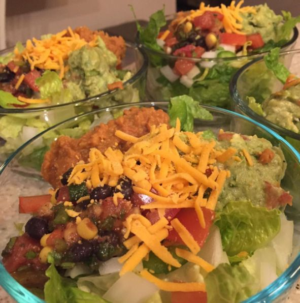 Lunches for this week are done. Love me some taco salads- topped romaine with tomatoes, onions, peppers, black bean salsa, Amy's refried beans, almond cheese and guacamole! #taco #tacosalad #healthy #healthyfood #quickandeasymeals #quickandhealthy #mexicanfood #glutenfree #lactosefree #vegan #vegetarian #amysorganic #lisanattifoods #functionalhealthcenter #phillyrd #recipes
