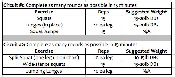 Simple At-Home Workout Split - Monday thru Friday schedule