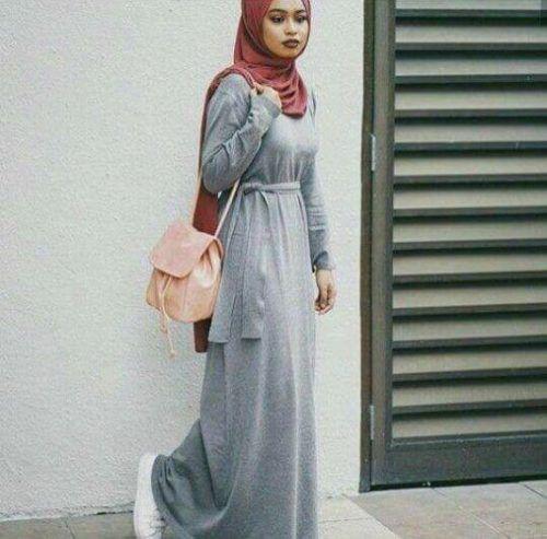 Maxi grey dress hijab-Street fashion style – Just Trendy Girls
