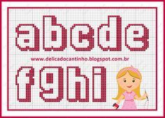 a- i  Princess Alphabet pattern  by Delicado Cantinho - http://delicadocantinho.blogspot.com.br/2016/03/graficos-ponto-cruz-ursinha-rainha.html