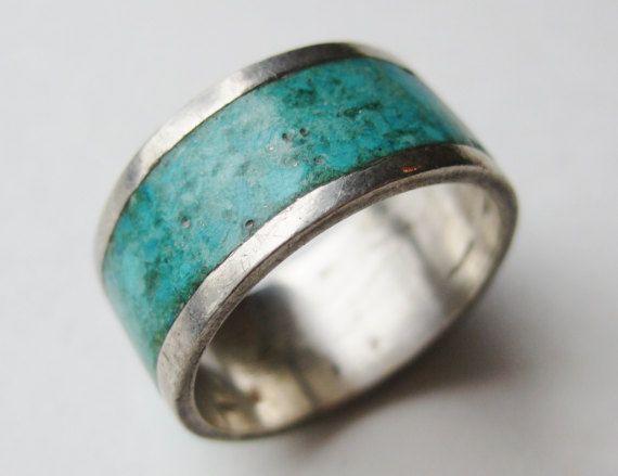 D'epoca modernista anello messicano argento turchese Inlay