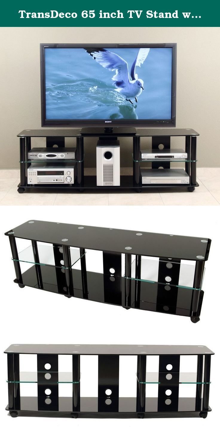 """TransDeco 65 inch TV Stand with Casters for 40-70 inch LCD/LED Televison. Accommodate 40""""-70"""" plasma, DLP, LCD and LED TVs; Five AV component shelves to house all your audio video components and center channel speaker; Stylish curve front tempered safety glass with bevel edges; Cable management system to hide cables & wires; Commercial grade casters for mobility and easy AV components set up; Constructed with tempered safety glass and metal with high gloss black finish; Contemporary…"""