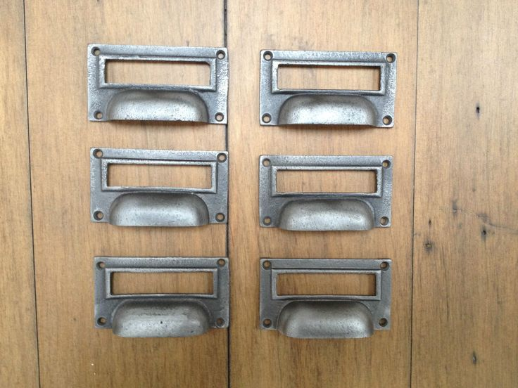 6 X CAST IRON FILING LABEL FRAME DRAWER HANDLES CUP PULLS KITCHEN CUPBOARD  DOOR #Victorian