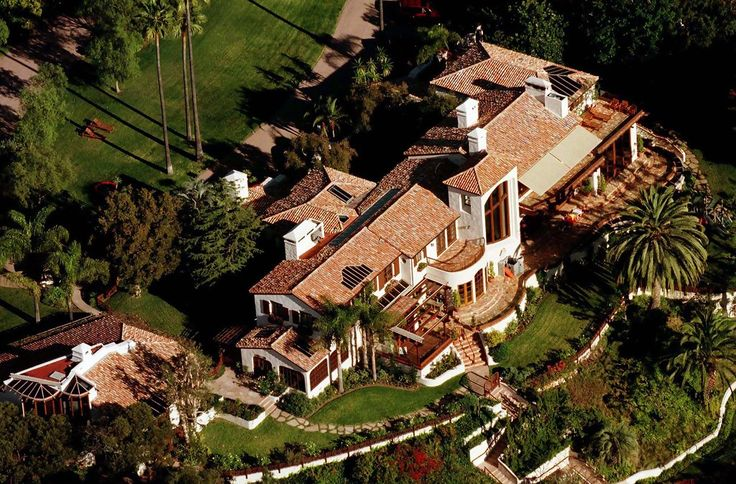 Steven Spielberg's compound in Brentwood, CA. Probable value $20 million. Photo shows main house.