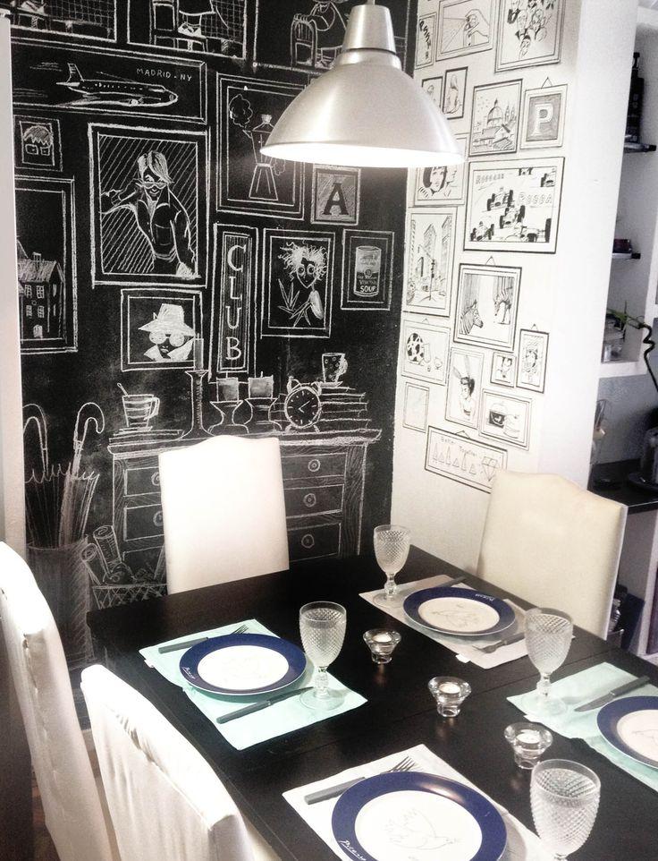 comedor original, decoracion original barata, mural roturador, mural pizarra