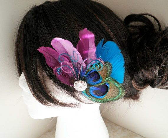 Peacock Bridal Fascinator Feather Hair Piece by PeacockPixys, $36.00