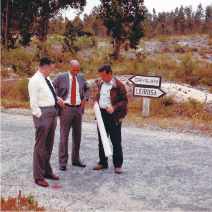 Raúl Fernandes, Charles James Steele and a local topographer planning what would become our pulp mill at Figueira da Foz.  #paper #company #thenavigatorcompany #portugal #history