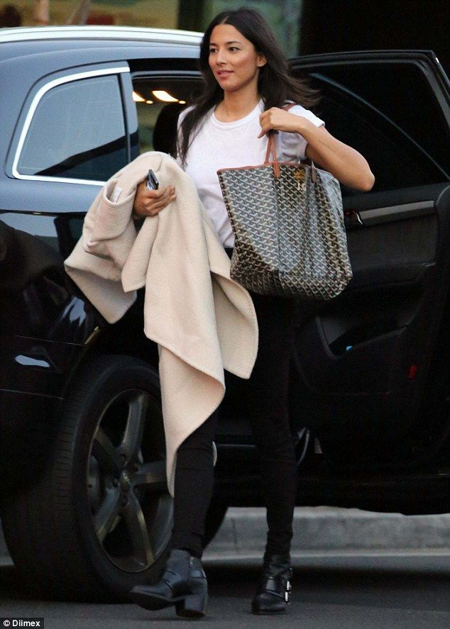 Accessoriser: On Wednesday evening model Jessica Gomes was spotted in Sydney's Eastern suburbs, clutching onto a Goyard branded handbag
