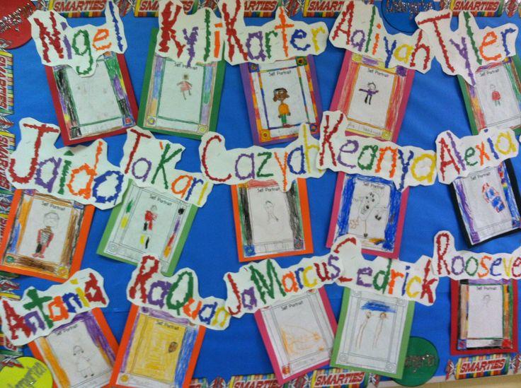 Preschool Classroom Name Ideas : Our kindergarten self portraits along with rainbow
