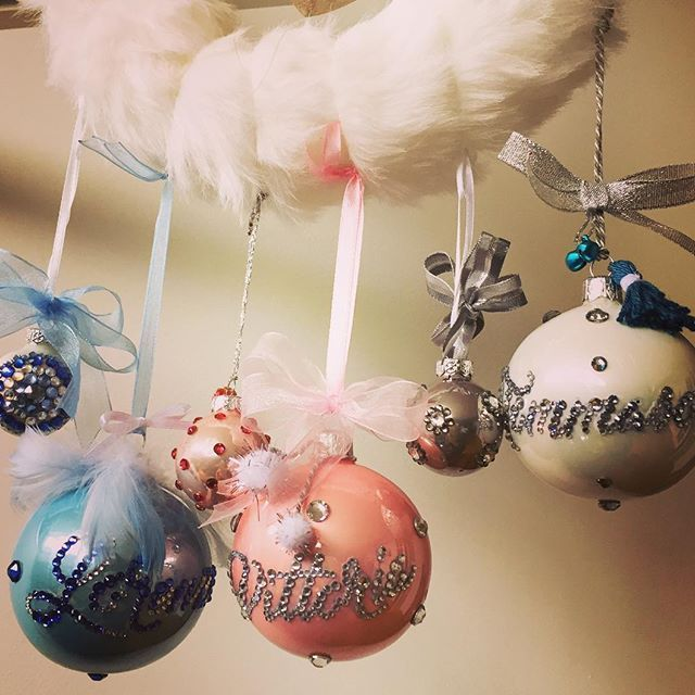 Preparations for Christmas time!!! Glass ornaments handmade customized with my sons and daugther names with Swarovski elements    #waiting4xmas #myloves #mykids #handmade #xmasornaments #blingbling #swarovskielement #ribbon #tassel #ponpon #xmastime #xmas2016