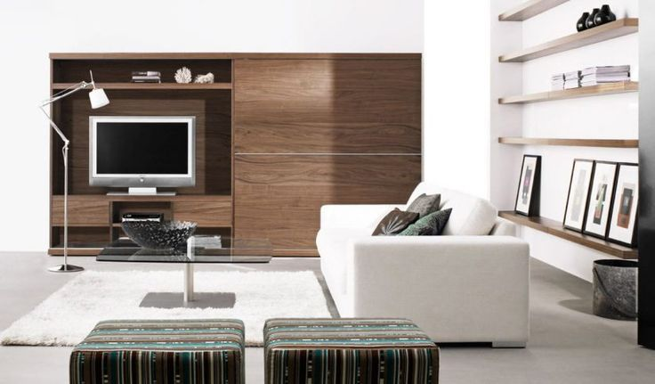 Contemporary Modern Living Room Ikea Side Table Geometric Pattern Creme Rug Elegant Dining Room Design Floating Walnut Cabinet Modern White Sectional Leather Sofa