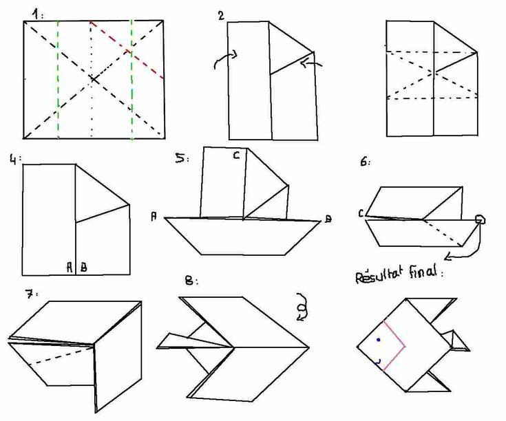 origami poisson origami poisson facile pirate. Black Bedroom Furniture Sets. Home Design Ideas