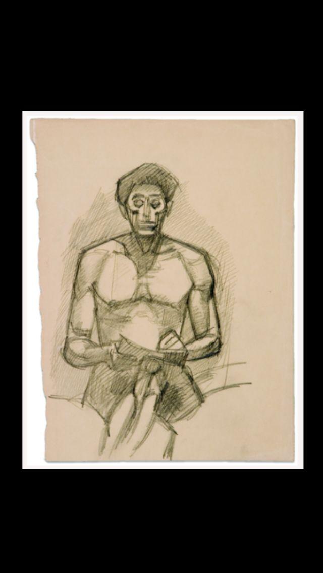 Alberto Giacometti - Autoportrait assis, c. 1934 - Crayon sur papier - 31,8 x 24,8 cm