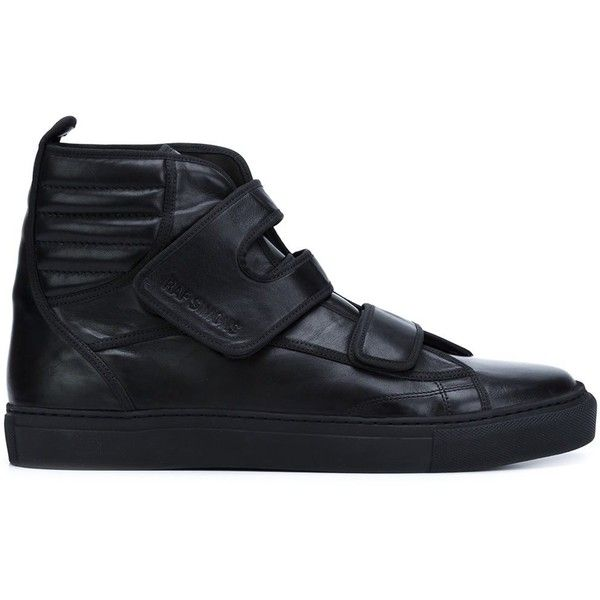 Raf Simons Velcro Straps Hi-Tops ($835) ❤ liked on Polyvore featuring men's fashion, men's shoes, men's sneakers, none, mens black leather shoes, mens velcro strap shoes, mens black velcro sneakers, mens velcro shoes and mens black leather high top sneakers