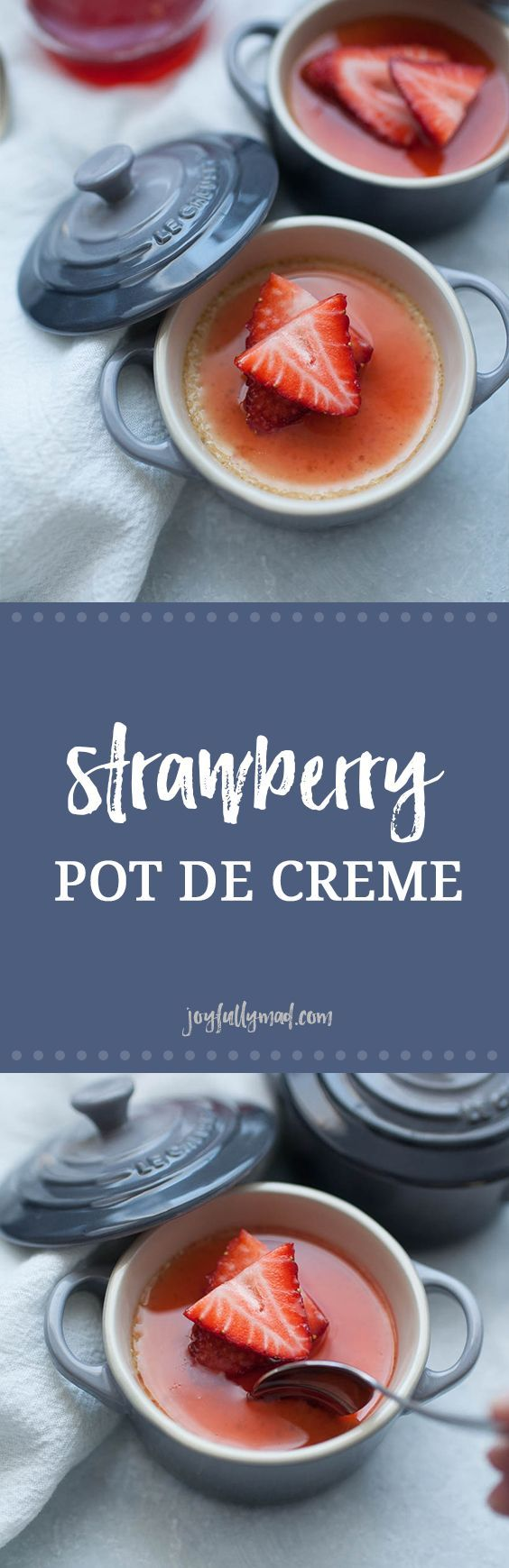 The perfect dessert for two: Strawberry Pots de Creme! A sweet, simple French dessert custard made with a homemade strawberry syrup,heavy whipping cream, egg yolks, vanilla bean and a dash of salt. These pots de creme are perfect for a special celebration orjust because. Serve them in individual custard ramekins and top with a splash of homemade strawberry syrup! via @joyfullymad