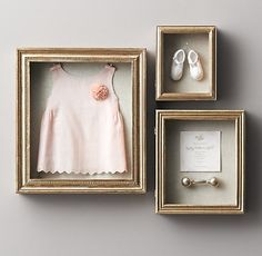 Antiqued Gilt Wood Shadowboxes - these are perfect for displaying your tiny one's first outfit, shoes, etc. #rhbabyandchild #fallinlove