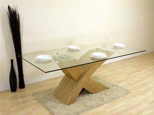 VALENCIA LARGE OAK GLASS & WOOD DINING ROOM TABLE NEW   eBay