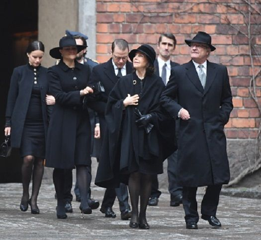 The Swedish Royal Family (L-R) Princess Sofia, Crown Princess Victoria, Prince Daniel, Queen Silvia and King Carl XVI Gustaf arrive at Stockholm City Hall for the official ceremony with a minute of silence at noon to remember the victims of Friday's terror attack on Drottninggatan, Stockholm, April 10, 2017. Four people died and fifteen were injured when a truck plunged into a crowd at a busy pedestrian street in the Swedish capital on April 7, 2017.