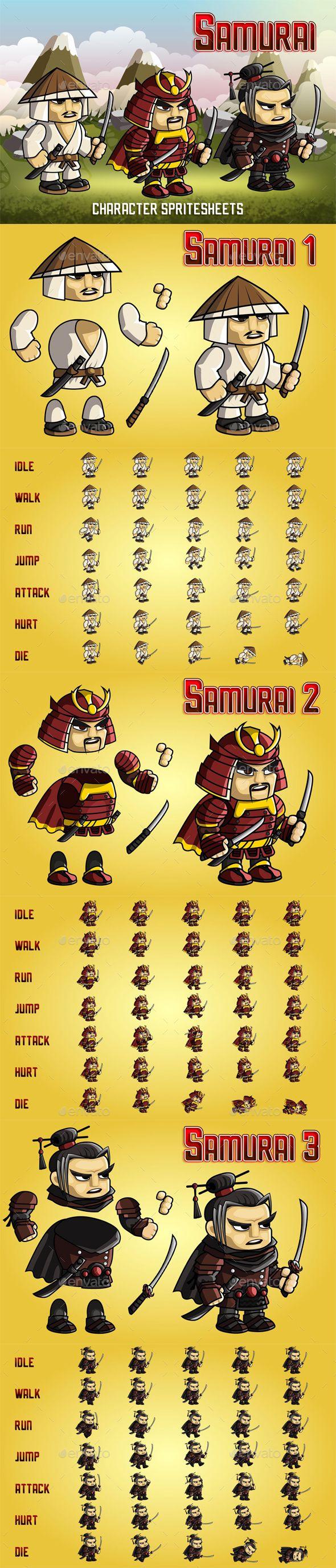 Samurai 2D Game Character Sprite Sheet - Sprites Game Assets