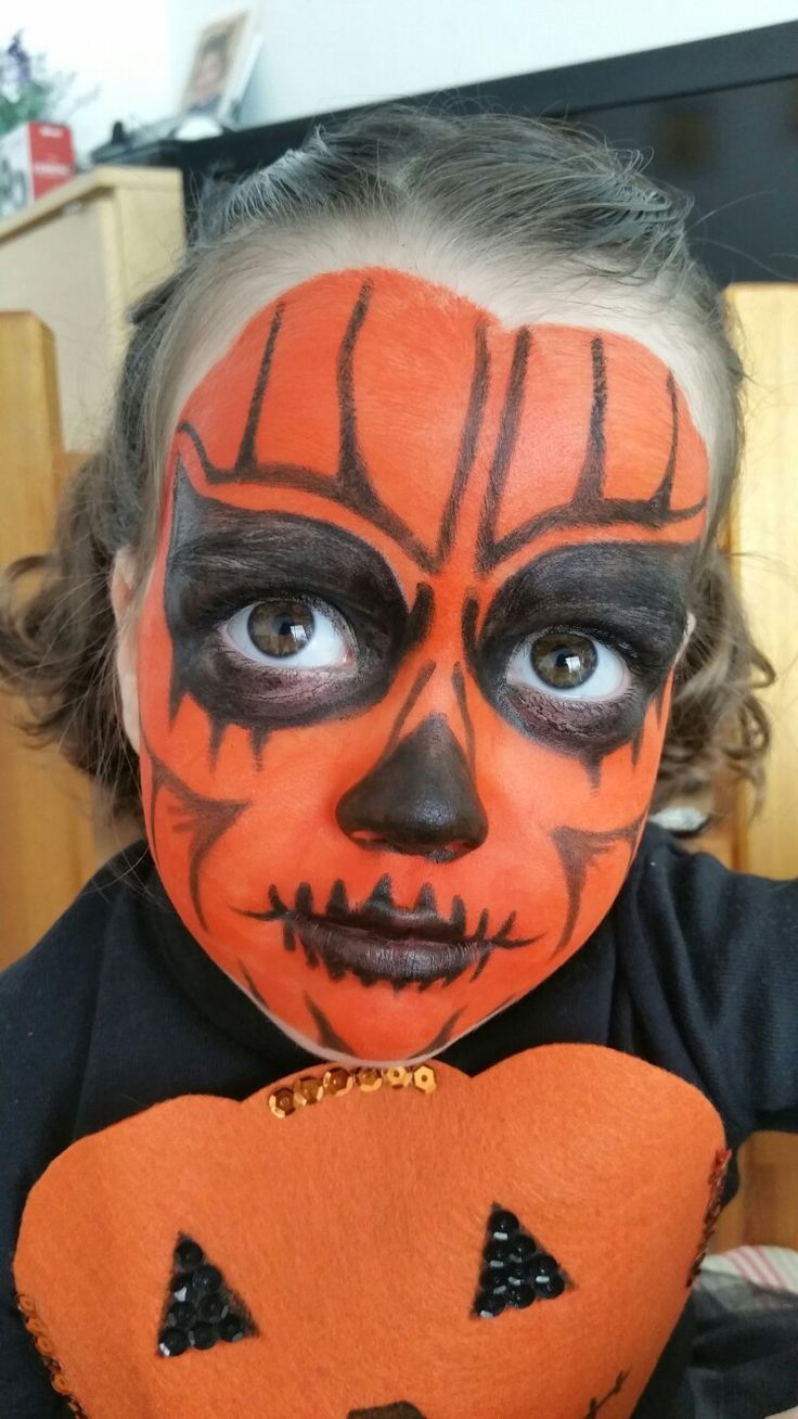 Halloween pumpkin face paint carnaval y halloween for Ideas de almuerzos caseros