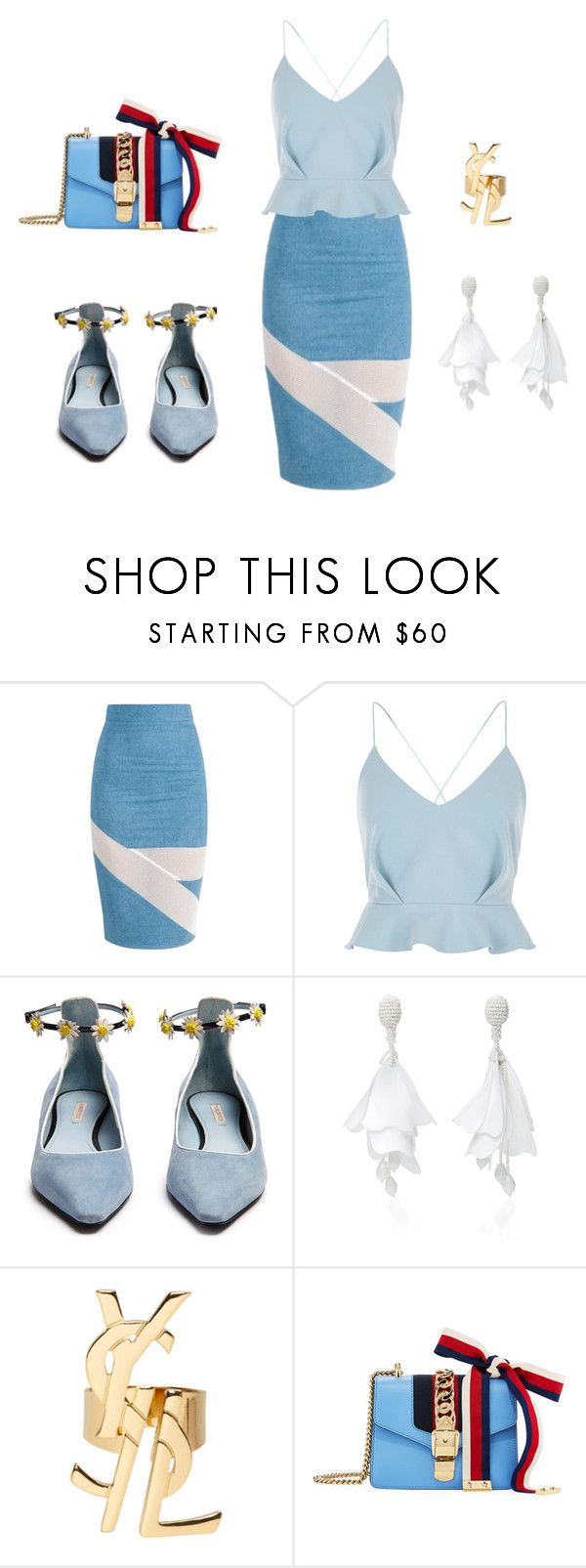 """Untitled #1"" by selena-seulhee-park ❤ liked on Polyvore featuring River Island, Fabrizio Viti, Oscar de la Renta, Yves Saint Laurent and Gucci"