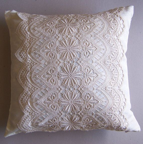 Cream Decorative Throw Pillows - Lace Pillow ? Pillow Covers - Lace A?